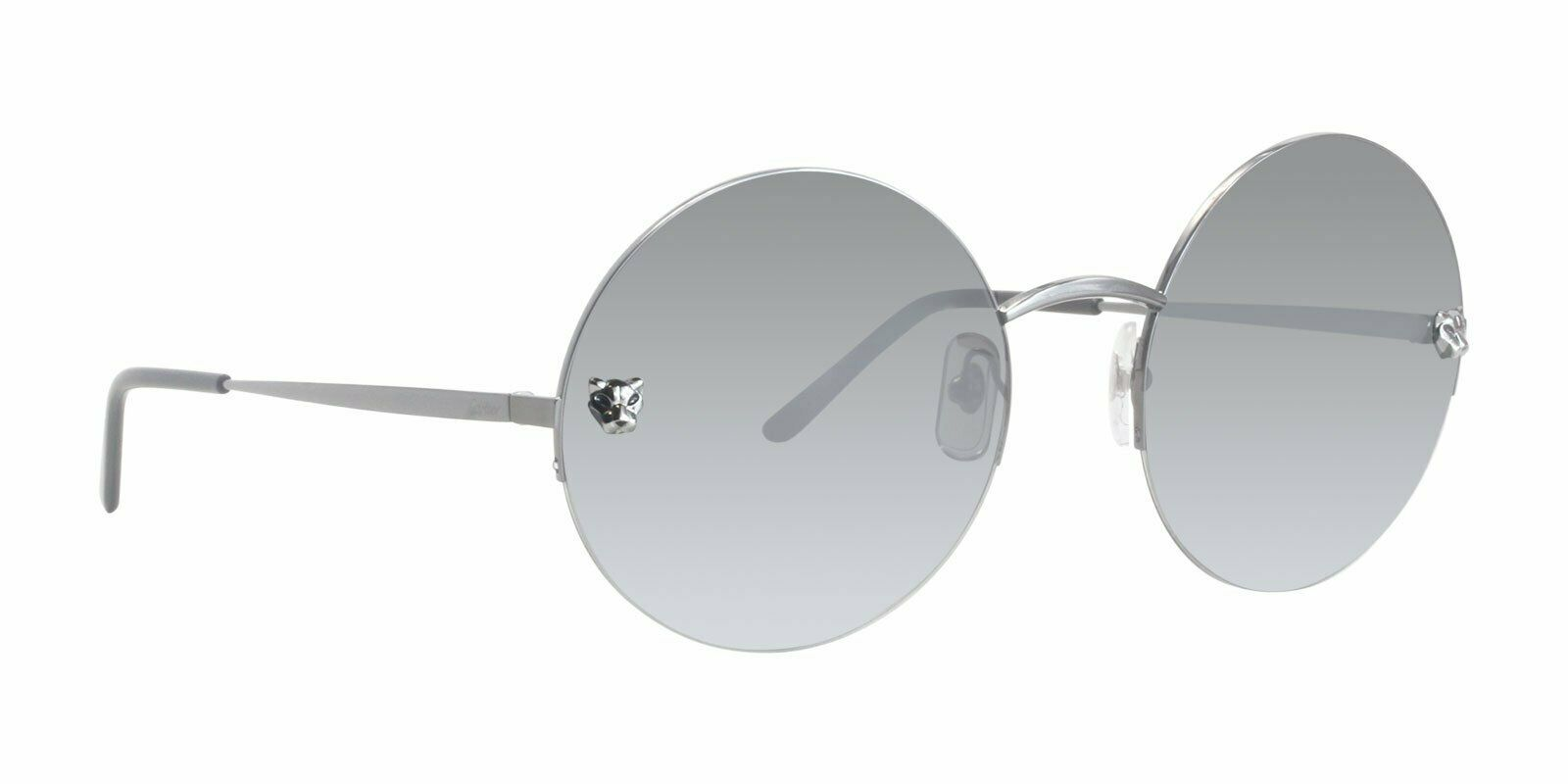 c32f57975d52 Cartier PANTHÈRE CT0022S 001 58MM Round Semi Rimmed Metal Sunglasses ...