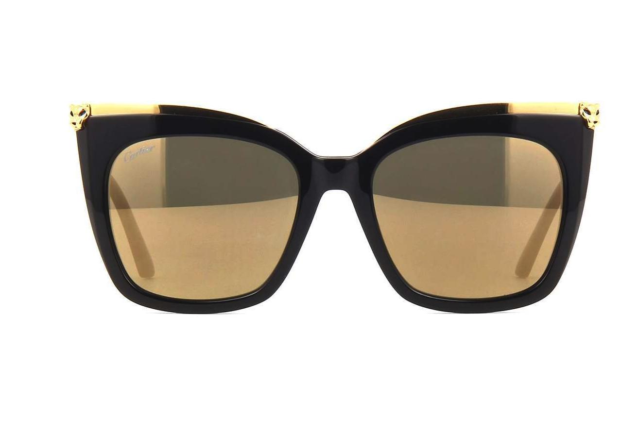 d35b761fdcf Authentic Cartier Sunglasses CT0030S 001 53MM Black Gold  Gold Lens ...