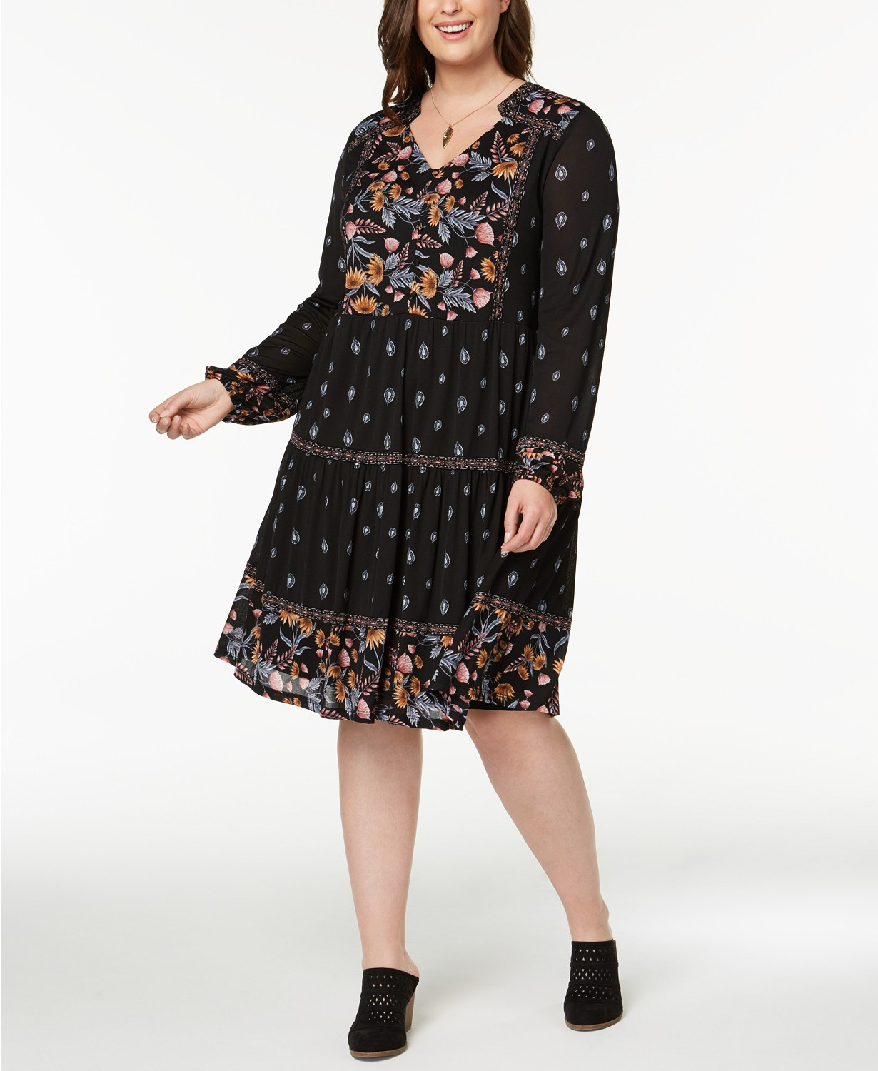 Details about Style & Co Plus Size Mixed-Print Peasant Dress
