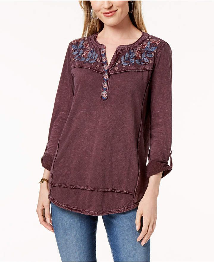 fashion design quality first look for Details about Style & Co - Cotton Embroidered Top - Petite - P/M